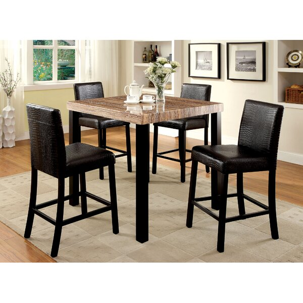 Caron Faux Marble Top Pub Table by Union Rustic