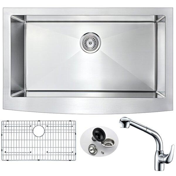 Elysian 32.875 L x 20.75 W Single Bowl Farmhouse Kitchen Sink with Faucet