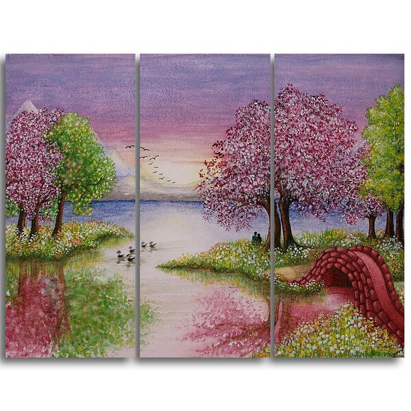 Romantic Lake in Pink and Green - 3 Piece Photographic Print on Wrapped Canvas Set by Design Art