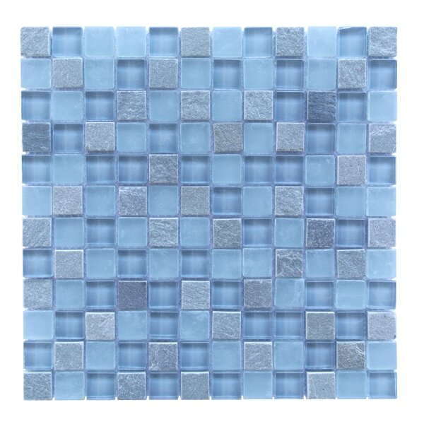Mineral 1 x 1 Glass and Slate Mosaic Tile in Blue Gray by Abolos