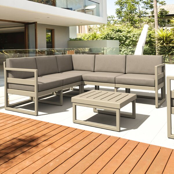 Millis 6 Piece Sectional Seating Group with Sunbrella Cushions