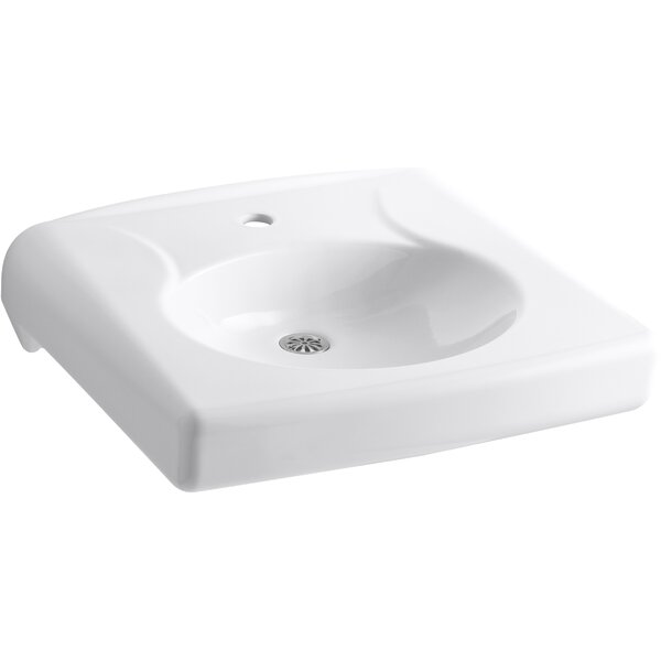 Brenham™ Wall-Mounted or Concealed Carrier Arm Mounted Commercial Bathroom Sink with Single Faucet Hole and No Overflow, Antimicrobial Finish by Kohler