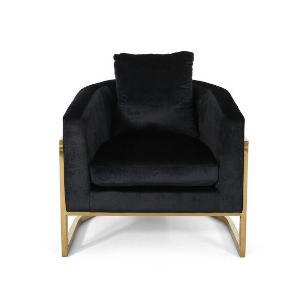 Reece Modern Velvet Glam Armchair by Everly Quinn Everly Quinn