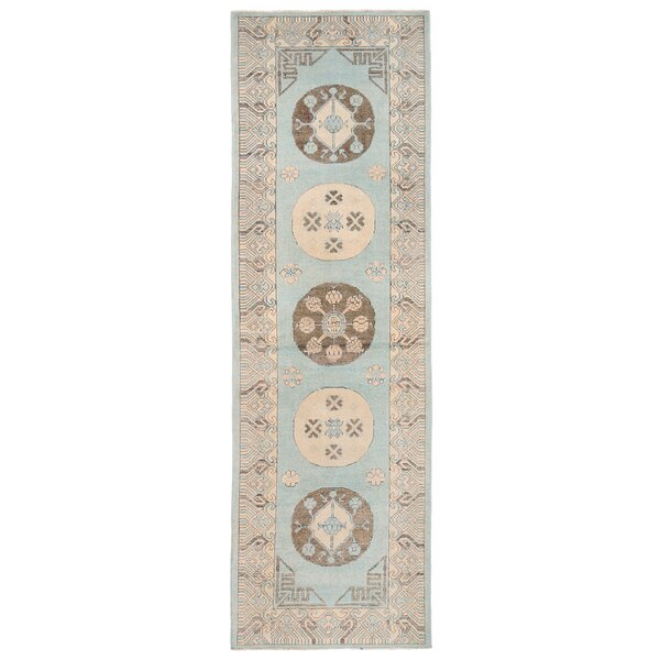 Vegetable Dye Hand-Knotted Light Blue Area Rug by Herat Oriental