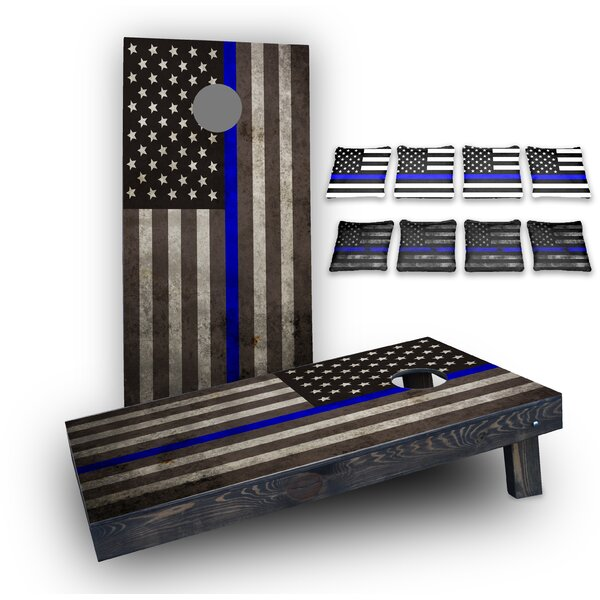 Thin Blue Line American Flag Custom 10 Piece Cornhole Board Set by Custom Cornhole Boards