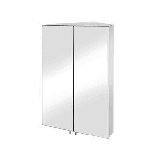 Olender Double Door 17.7 x 27.5 Surface Mount Frameless Medicine Cabinet with 2 Adjustable Shelves By Orren Ellis