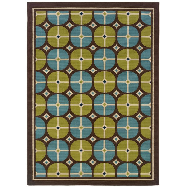 Newfield Brown/Blue Indoor/Outdoor Area Rug by Threadbind
