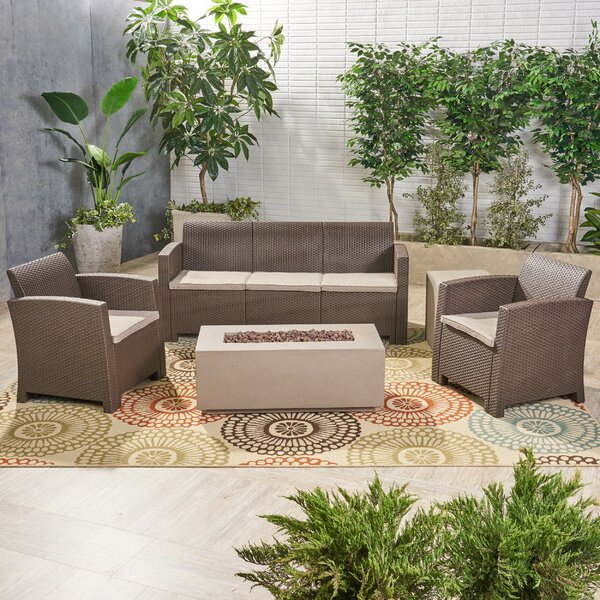 Jacksonville 5 Piece Sofa Seating Group with Cushions