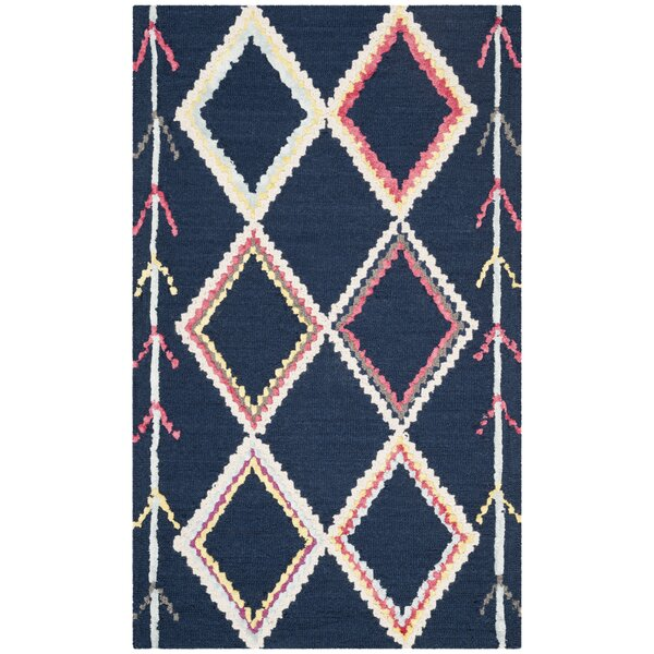 Juney Hand-Tufted Wool Navy Area Rug by Bungalow Rose