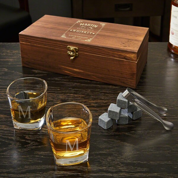 Leidesdorff Engraved Shot Glass and Whiskey Stones Wooden Box Gift Set by Darby Home Co