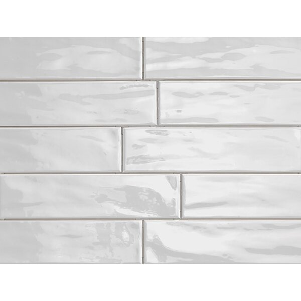 Organic Brick 3 x 12 Porcelain Subway Tile in Ice Shiny by Travis Tile Sales