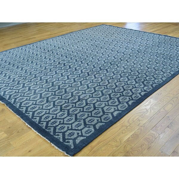 One-of-a-Kind Bearer Turkish Knot Cropped Handwoven Blue Wool Area Rug by Isabelline