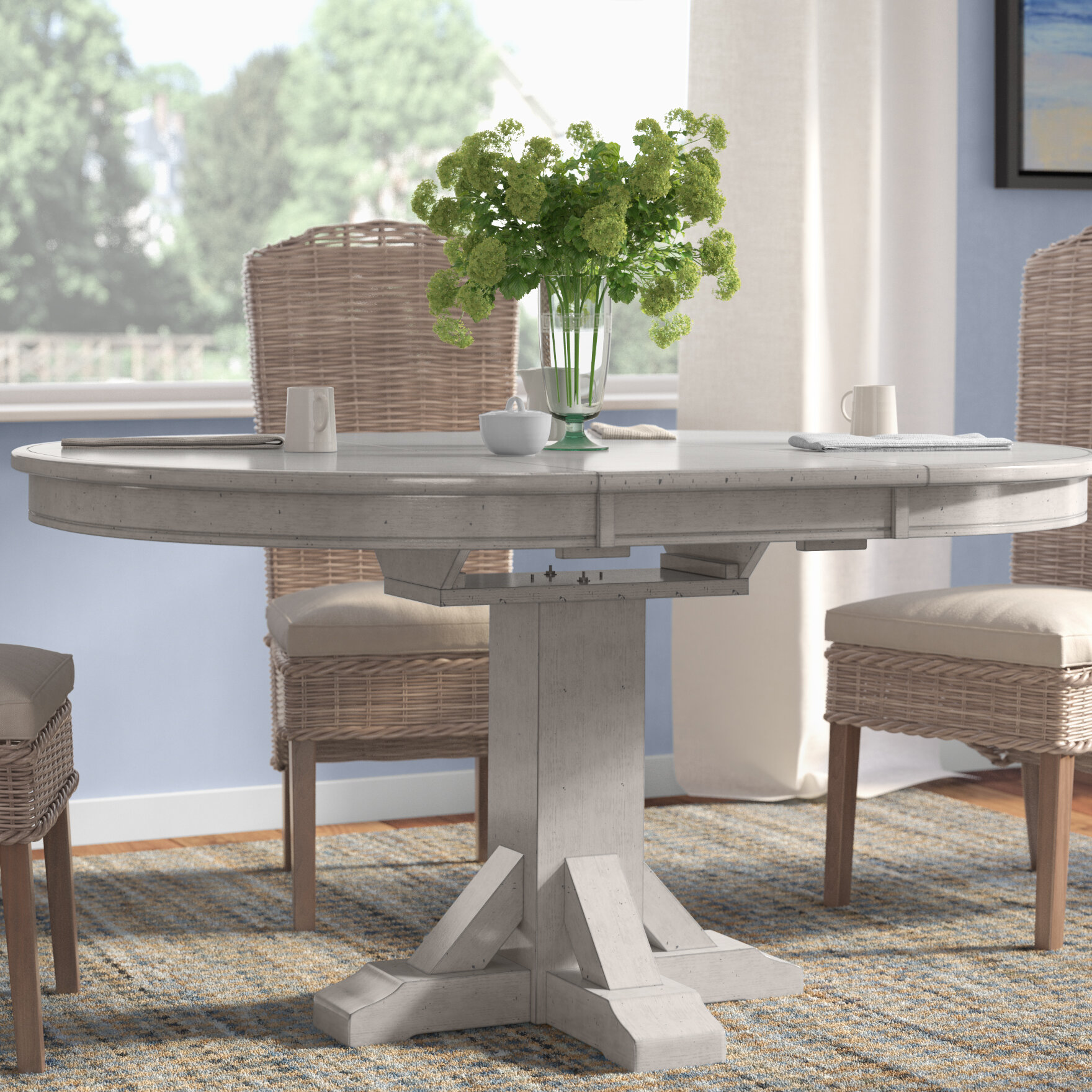 Rosecliff Heights Rutledge Pedestal Dining Table with Butterfly Leaf ...