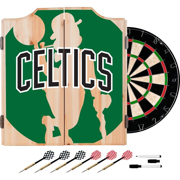 NBA Fade Dartboard and Cabinet Set by Trademark Global