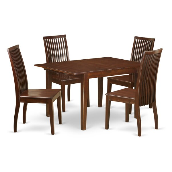 Lorelai 5 Piece Solid Wood Dining Set by Alcott Hill Alcott Hill