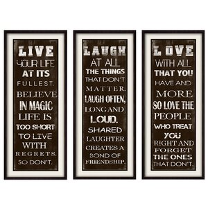 Live, Love & Laugh Framed 3 Piece Textual Art Set by PTM
