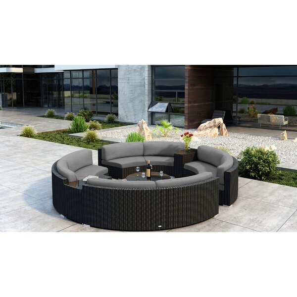 Glendale 7 Piece Sectional Set Sectional Seating Group with Sunbrella Cushions by Everly Quinn