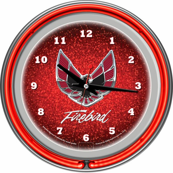 Pontiac 14.5 Firebird Double Ring Neon Wall Clock by Trademark Global