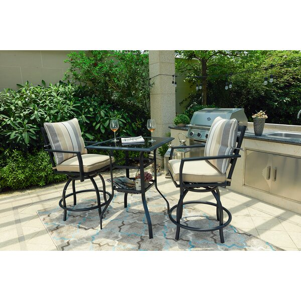 Zaina 3 Piece Bistro Set With Cushions By Alcott Hill