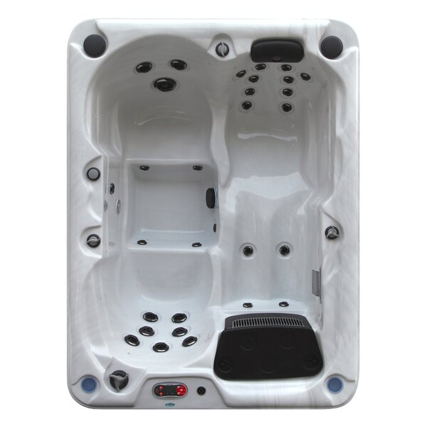 Quebec 4-Person 29-Jet Plug and Play Spa with Waterfall by Canadian Spa Co