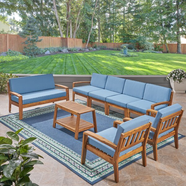 Floral Outdoor 8 Piece Sectional Seating Group with Cushion by Longshore Tides