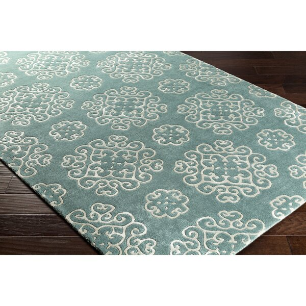 Silvera Hand-Tufted Neutral/Blue Area Rug by Alcott Hill