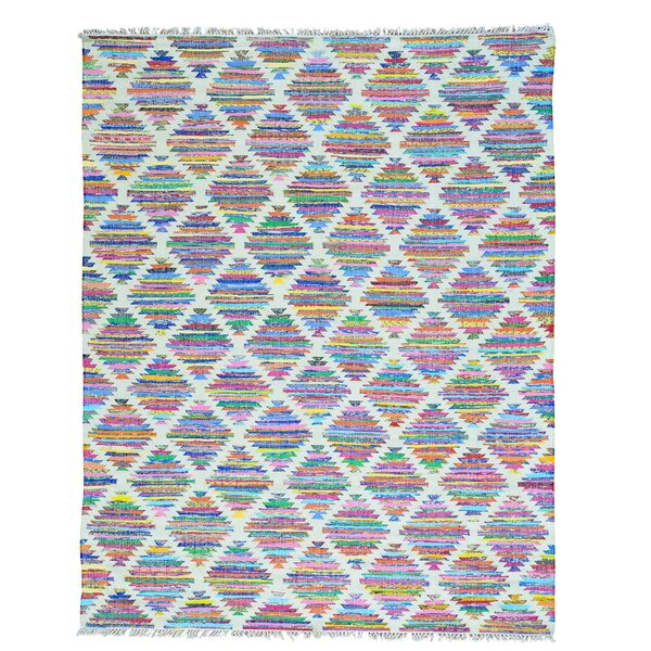 One-of-a-Kind Flat Weave Kilim Hand-Knotted Ivory/Blue Area Rug by Bungalow Rose