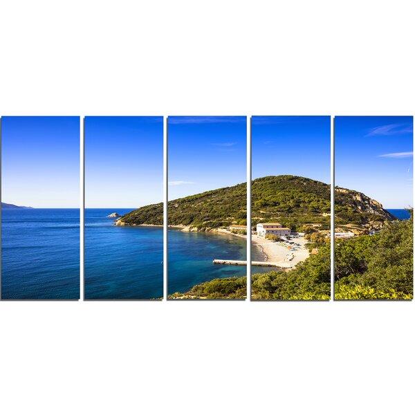 Blue Seashore at Elba Island 5 Piece Wall Art on Wrapped Canvas Set by Design Art