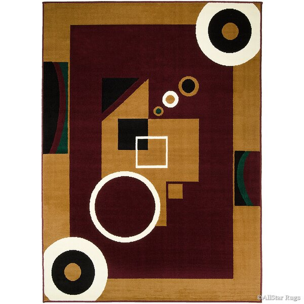 Hand-Woven Burgundy/Brown Area Rug by AllStar Rugs