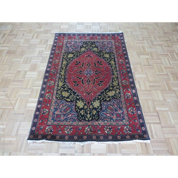 One-of-a-Kind Pellegrino Hand-Knotted Wool Navy Blue Area Rug by Bloomsbury Market