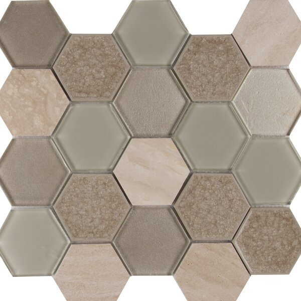 Monterra Blend Hexagon 3 x 3 Glass/Stone Mosaic Tile in Beige by MSI