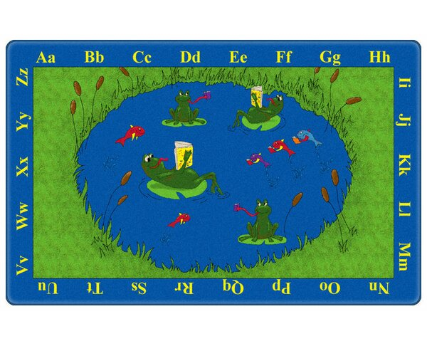 Educational Green/Blue Animal Frogs Area Rug by Flagship Carpets