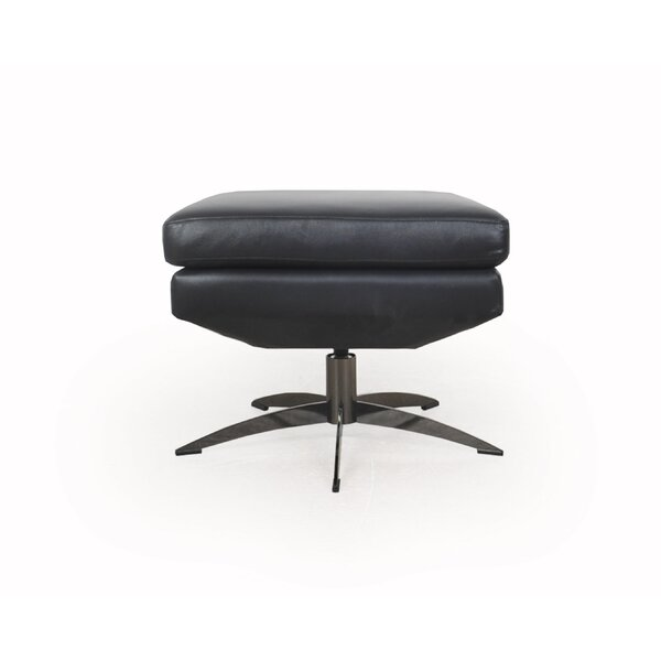 Buy Sale Eliora Modern Swivel Leather Ottoman