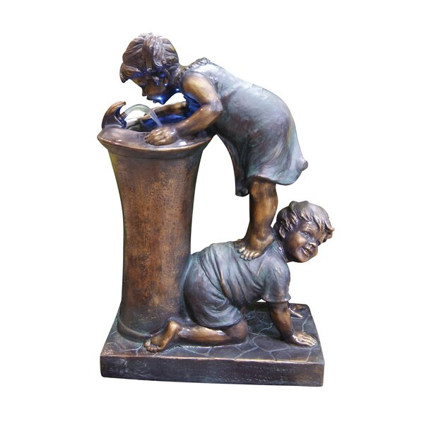 Fiberglass/Resin Boy and Girl Drinking Fountain with LED Light by Alpine