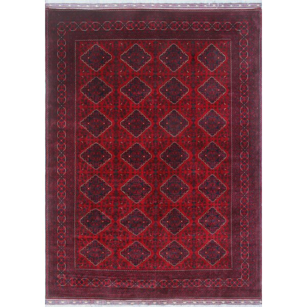 Linda Oriental Hand Knotted Wool Red Area Rug by World Menagerie