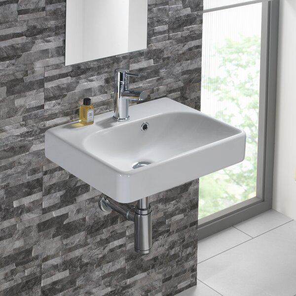 Smyle Vitreous China 18 Wall Mount Bathroom Sink with Overflow by Bissonnet