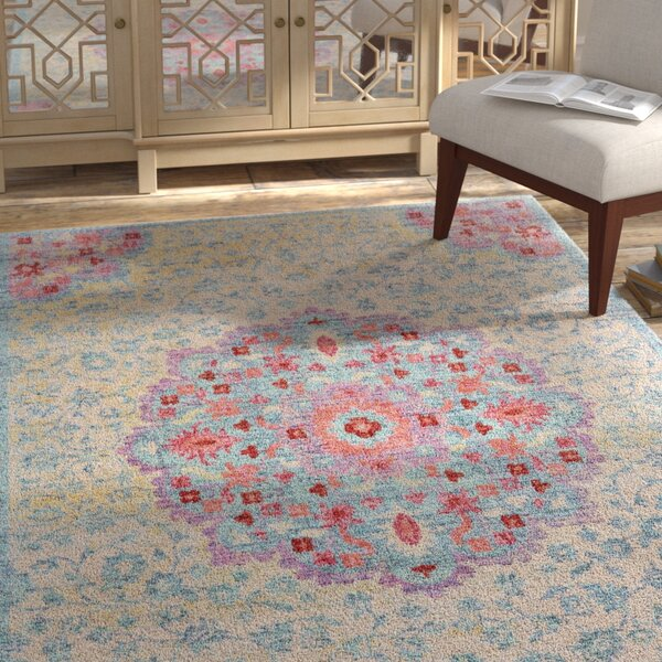 Grenz Ivory/Teal/Red Area Rug by Bungalow Rose