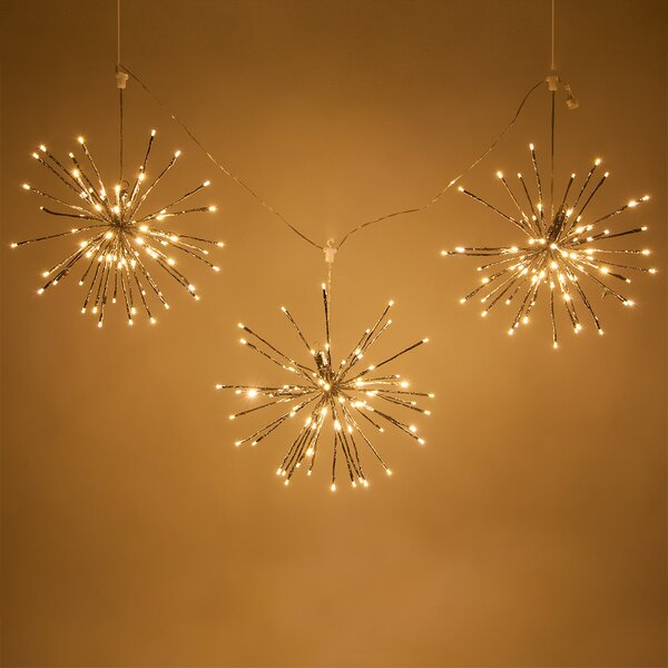 String of 3 LED Twinkle Light Starburst Branches Lighting by The Holiday Aisle