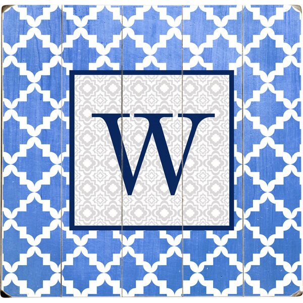 Personalized Blue Tile Graphic Art Multi-Piece Image on Wood by Artehouse LLC