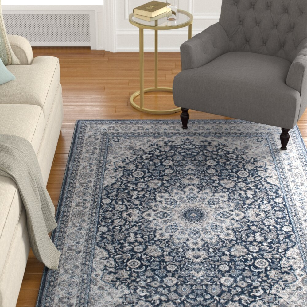 Alcott Hill Nathanial Power Loom Blue Ivory Rug Wayfair