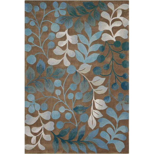 Brittni Hand-Tufted Mocha/Blue Area Rug by Red Barrel Studio
