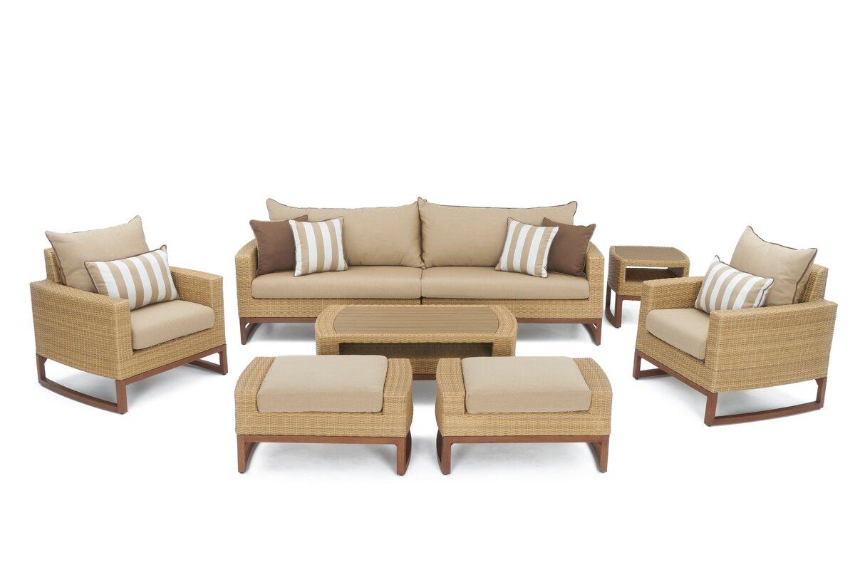 Superior Addison 8 Piece Sunbrella Sofa Set With Cushions
