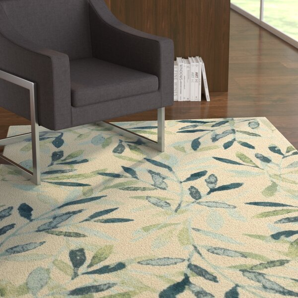 Glenmore Modern Floral Green/Beige Area Rug by Latitude Run