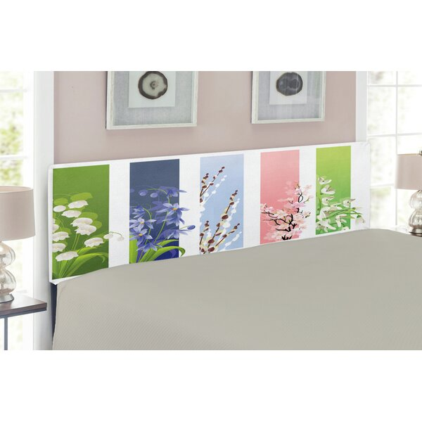 Flower Upholstered Panel Headboard By East Urban Home Great price