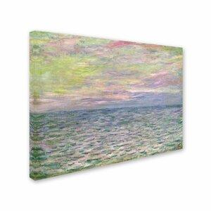 'Coucher de Soleil a Pourville' by Claude Monet Painting Print on Canvas by Trademark Fine Art