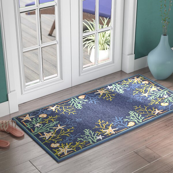 Rundall Sea Water Hand-Hooked Blue Indoor/Outdoor Area Rug by Highland Dunes