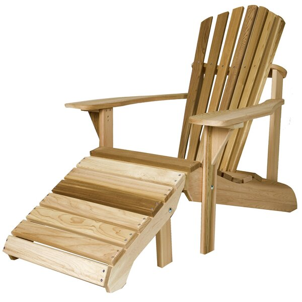 Henriksen Solid Wood Adirondack Chair with Ottoman by Highland Dunes