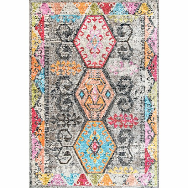 Cleora Gray/Pink/Blue Area Rug by Bungalow Rose