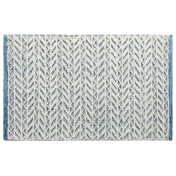 Herringbone Berber Hand-Woven Blue/White Area Rug by CompanyC
