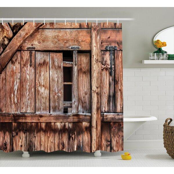Rustic Oak Abandoned Barn Door Shower Curtain by East Urban Home